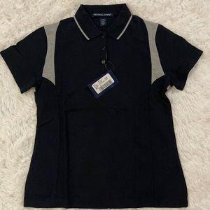 Women's Polo Black/Grey Size Medium Devon & Jones